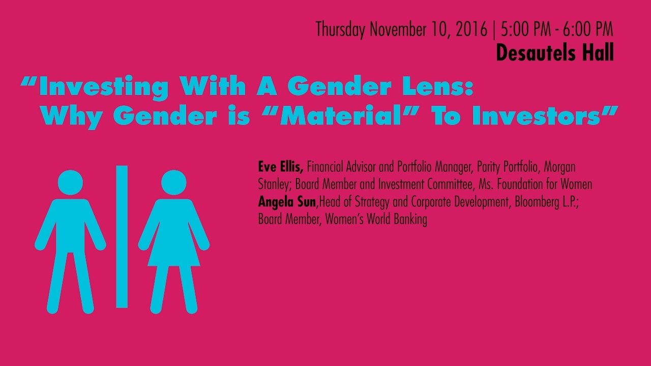 Investing with a Gender Lens event banner