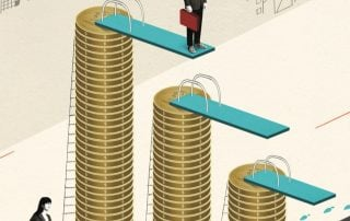 illustration of stack of coins with diving board