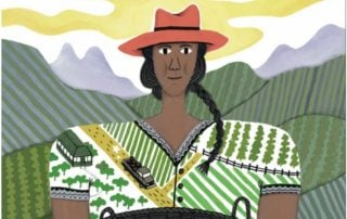 Illustration of woman with a farm road on her blouse