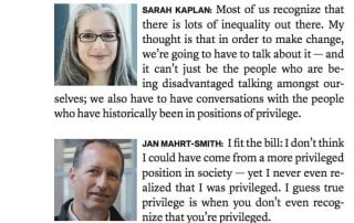 screenshot of Sarah Kaplan and Jan Mahrt-Smith bios