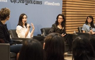 "Panelist speak at the ""Journalism and the #Metoo moment"" event"