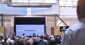 """Audience members watch the """"Journalism and the #Metoo moment"""" event"""