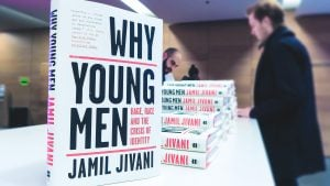 "Close up of book ""Why Young Men: Rage, Race, and the Crisis of Identity"", by Jamil Jivani"