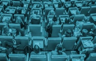 Overhead shot of BAD Conference seated attendees