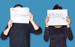 Man holding a sign which reads $70,000/yr and woman holding a sign reading $35,000/year