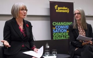 Minister Hajdu and Sarah Kaplan discussing pay equity