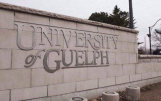 University of Guelph sign on a stone wall