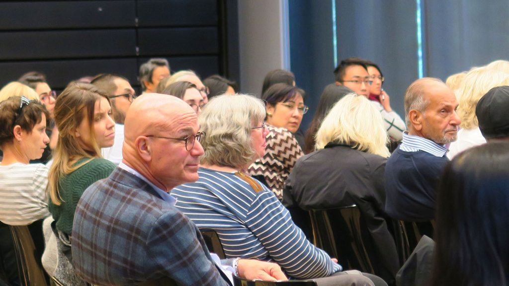 Audience members attending the Women and Investing event hosted by the Institute for Gender and the Economy