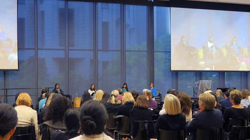 Claire Célérier, Laura Doering, and Avni Shah speak at the Women and Investing event