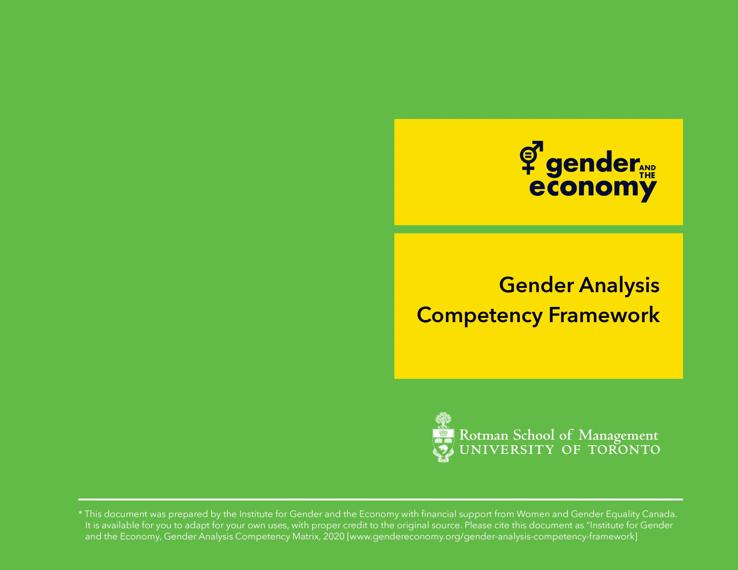 Gender Analysis Competency Framework Document Cover
