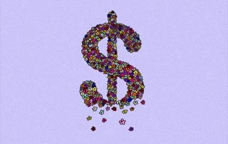 Dollar sign made up of florals