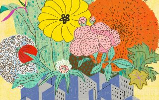 Illustration of florals overtop city buildings