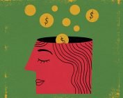Illustration of woman's head with an opening allowing coins to fall in