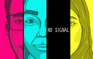 Illustration closeup of intersectional faces