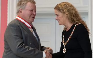 Actor William Shatner is invested as an Officer of the Order of Canada by Governor General Julie Payette during a ceremony at Rideau Hall in Ottawa last year