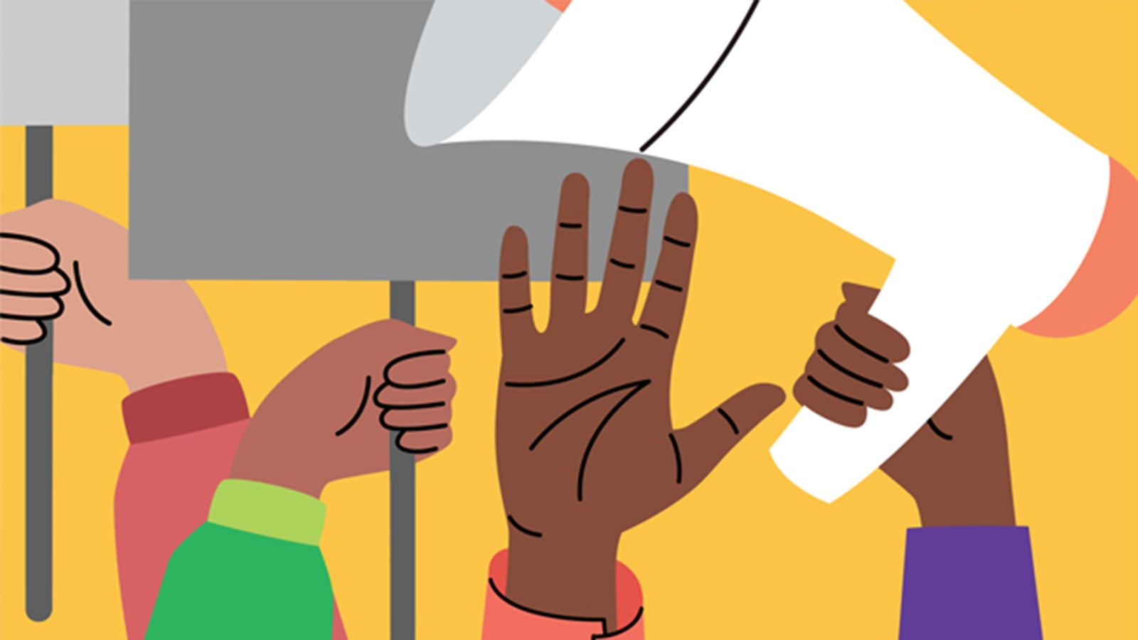 Illustration of hands holding signs and a megaphone
