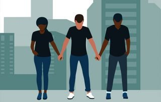 Illustration of three people holding hands looking down
