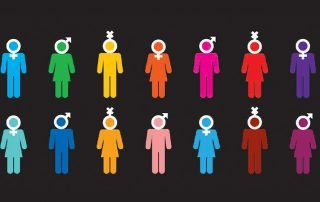 series of people icons in various colours with various gender icons assigned to their head