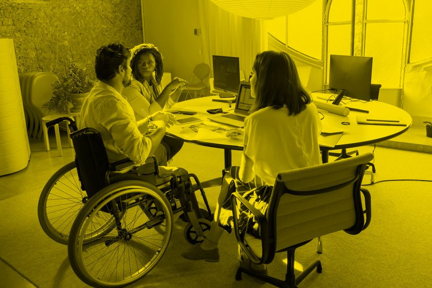 People seated in an office